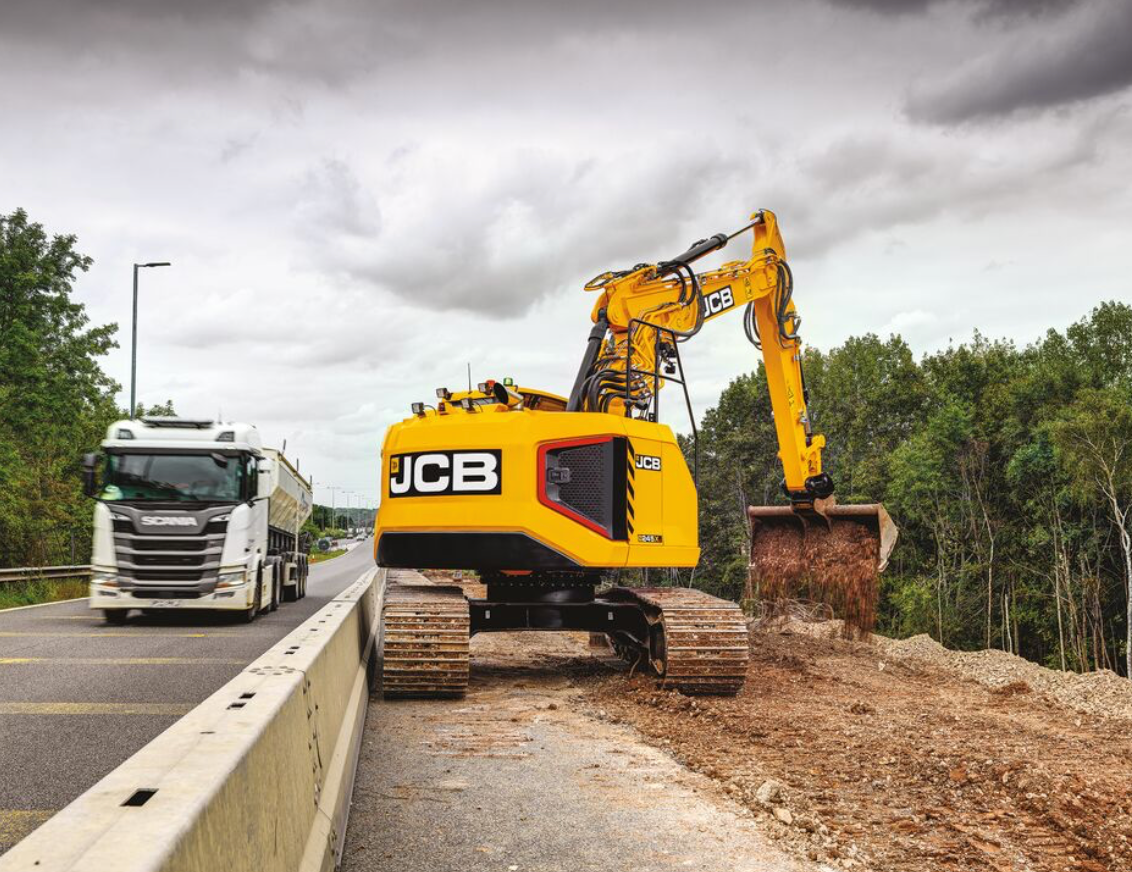 JCB 245XR excavator reduced tail swing road work