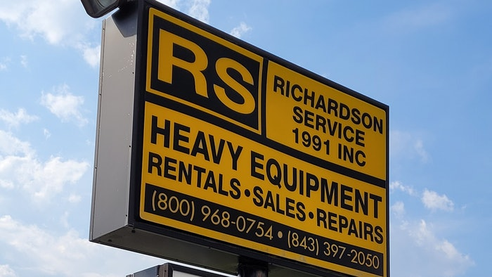 Richardson Service Heavy Equipment Rentals, Sales, and Repairs sign