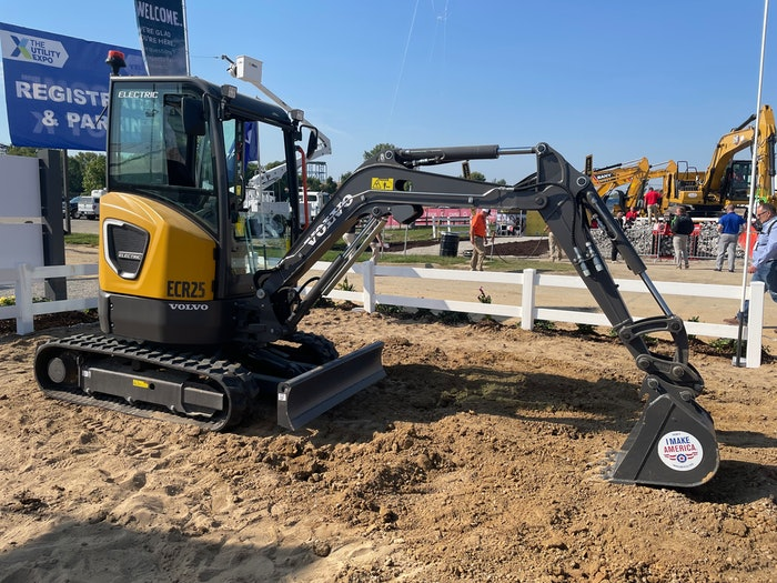 The Volvo ECR25 (pictured) and L25 took center stage in Volvo's booth at the Utility Expo.
