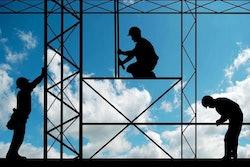 construction crew on stilts