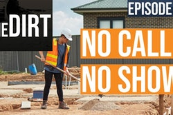 the dirt episode 40 no call no show text around a construction worker in safety vest and hard hat